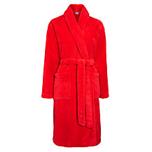 Buy John Lewis Fleece Waffle Robe, Red Online at johnlewis.com