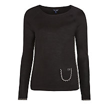 Buy Armani Jeans Dotty Trim Jumper, Black Online at johnlewis.com