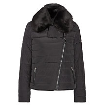 Buy Armani Jeans Faux-Fur Collar Jacket, Black Online at johnlewis.com