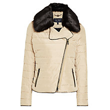 Buy Armani Jeans Faux Fur Collar Quilted Jacket, Beige Online at johnlewis.com