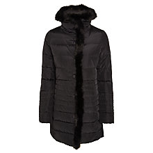 Buy Armani Jeans Faux Fur Trim Coat, Black Online at johnlewis.com