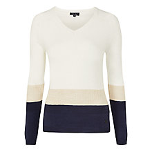 Buy Armani Jeans V-Neck Crochet Insert Jumper, White/Blue Online at johnlewis.com