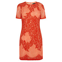 Buy Karen Millen Fine Lace Applique Patchwork Dress, Orange Online at johnlewis.com
