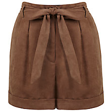 Buy Miss Selfridge Sueduette Turn-up Shorts, Tan Online at johnlewis.com
