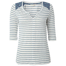 Buy White Stuff Linen Mind The Map Stripe T-Shirt, Sea Kelp Green Online at johnlewis.com