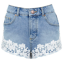Buy Miss Selfridge Floral Crochet Shorts, Mid Blue Denim Online at johnlewis.com