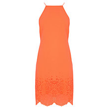 Buy Karen Millen Laser Cut Crepe Dress, Coral Online at johnlewis.com