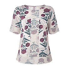 Buy White Stuff Petal Print Top, Canvas White/Multi Online at johnlewis.com