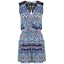 Buy Miss Selfridge Aztec Print Crochet Detail Playsuit, Multi Online at johnlewis.com