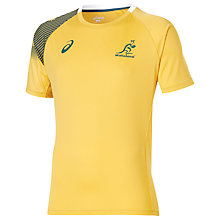 Buy Asics Australia Rugby 2015/16 Fan T-Shirt, Gold/Green Online at johnlewis.com
