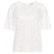 Buy Reiss Marti Sheer Lace Top, White Online at johnlewis.com