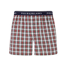 Buy Polo Ralph Lauren 50's Check Woven Cotton Classic Boxers, Red Online at johnlewis.com