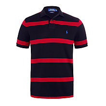 Buy Polo Ralph Lauren Slim-Fit Striped Mesh Polo, Boot Black/Pioneer Red Online at johnlewis.com