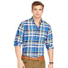Buy Polo Ralph Lauren Plaid Long Sleeve Oxford Shirt, Blue/Yellow Online at johnlewis.com