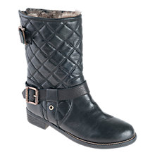 Buy Barbour Stanchion Quilted Faux Fur Leather Calf Boots, Black Online at johnlewis.com