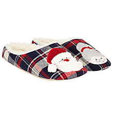 Buy John Lewis Santa Mule Slippers, Navy Online at johnlewis.com