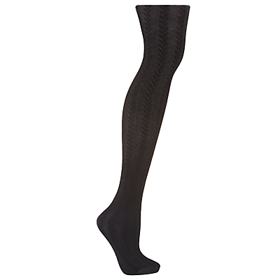 John Lewis Cable Ribbed Tights, Black