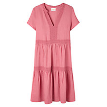 Buy East Lace Tiered Linen Dress, Blush Online at johnlewis.com