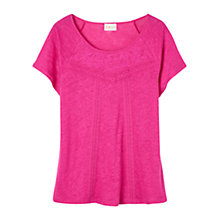 Buy East Linen Lace Detail T-Shirt, Magenta Online at johnlewis.com