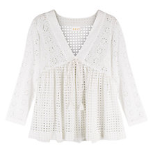 Buy East Broderie Anglais Cotton Blouse, White Online at johnlewis.com