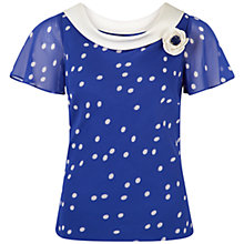 Buy Jacques Vert Petite Spot Cowl Neck Blouse, Blue Online at johnlewis.com