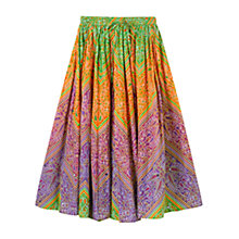 Buy East Lila Print Skirt, Light Orange Multi Online at johnlewis.com