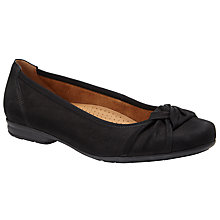Buy Gabor Ashlene Wide Fit Nubuck Ballerina Pumps, Black Online at johnlewis.com