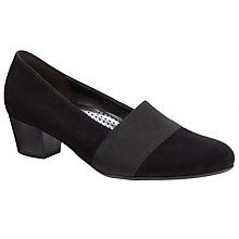 Buy Gabor Sovereign Wide Fit Suede Court Shoes, Black Online at johnlewis.com
