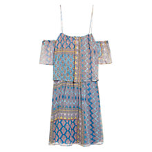 Buy Mango Printed Silk Dress, Turquoise Online at johnlewis.com