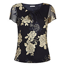 Buy Jacques Vert Floral Devore Top, Multi Navy Online at johnlewis.com