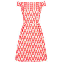 Buy Warehouse Wavy Lace Bardot Dress, Coral Online at johnlewis.com