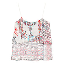 Buy Mango Printed Double Layer Top, Light Beige Online at johnlewis.com