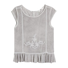 Buy Mango Embroidered Ruffle Top, Charcoal Online at johnlewis.com