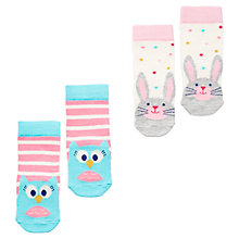 Buy Baby Joule Owl and Hare Socks, Pack of 2, Multi Online at johnlewis.com