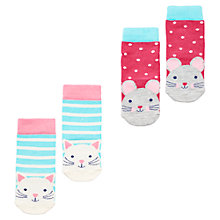 Buy Little Joule Cat and Mouse Socks, Pack of 2, Multi Online at johnlewis.com