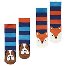 Buy Baby Joule Fox And Dog Socks, Pack of 2, Blue/Orange Online at johnlewis.com