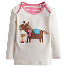 Buy Little Joule Horse Long Sleeve T-Shirt, Cream/Pink Online at johnlewis.com