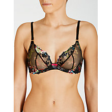 Buy COLLECTION by John Lewis Valentina Underwired Plunge Bra, Black Print Embroidery Online at johnlewis.com