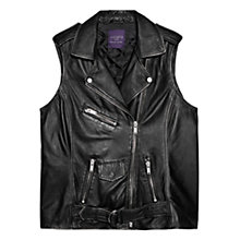 Buy Violeta by Mango Leather Biker Gilet, Black Online at johnlewis.com