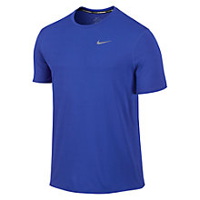 Buy Nike Dri-FIT Contour Short Sleeve Running Top, Blue/Silver Online at johnlewis.com