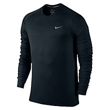 Buy Nike Dri-FIT Miler Long Sleeve Running Top, Black/Reflective Silver Online at johnlewis.com