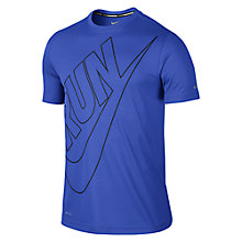 Buy Nike Dri-FIT Run Swoosh Challenger Short Sleeve T-Shirt, Blue Online at johnlewis.com