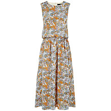Buy Jaeger Silk Floral Print Midi Dress, Orange Online at johnlewis.com