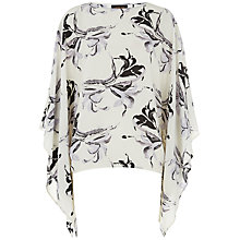 Buy Jaeger Silk Floral Print Kaftan, Antique White Online at johnlewis.com