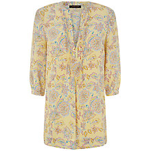 Buy Jaeger Floral Paisley Tunic Top, Nugget Gold Online at johnlewis.com