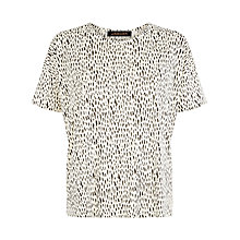 Buy Jaeger Stroke Print T-Shirt, Black / Ivory Online at johnlewis.com