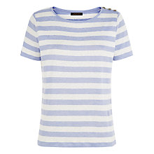 Buy Jaeger Linen Striped Top, Ivory/Blue Online at johnlewis.com