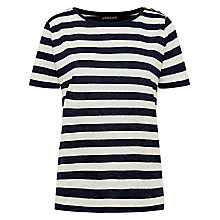 Buy Jaegar Linen Stripe Top, Navy / Ivory Online at johnlewis.com