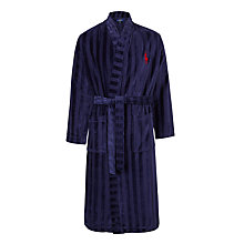 Buy Polo Ralph Lauren Stripe Cotton Terry Robe, Navy Online at johnlewis.com