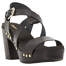 Buy Dune Jaxon Leather Block Heel Clog Sandals Online at johnlewis.com